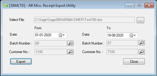 AR Misc. Receipt Export Utility-User interface