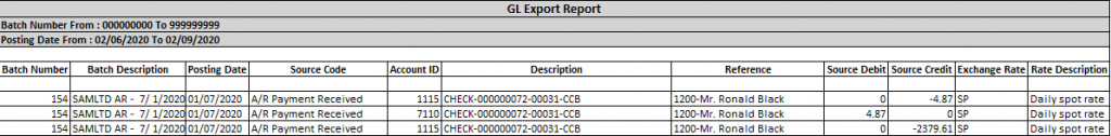 GL Export utility-Output