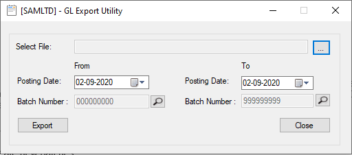 GL Export utility-user Interface