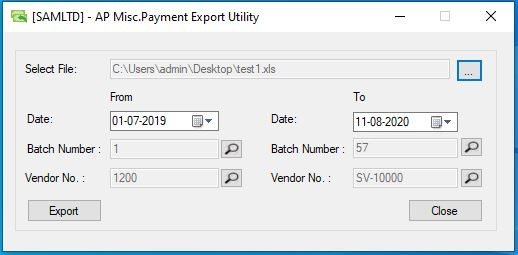 AP Misc. Payment Export Utility - User Interface