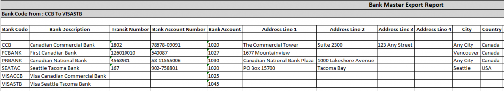 Bank Master Export-Output