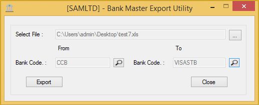 Bank Master Export Utility - User Interface