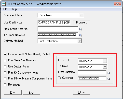 OE Credit-Debit Notes - Customer and date filter in OE Forms
