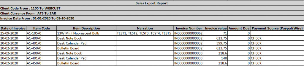 """excel-based generated output of the """"OE Invoice and AR Receipt Entry"""