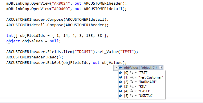 BlkGet using COMAPI in C#