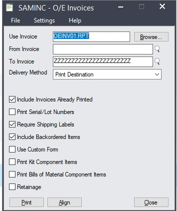 OE Invoice Form